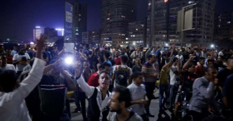 Such demonstrations are rare after Egypt effectively banned protests under a law passed following the 2013 military ouster of Islamist ex-president Mohamed Morsi.  By STR (AFP)