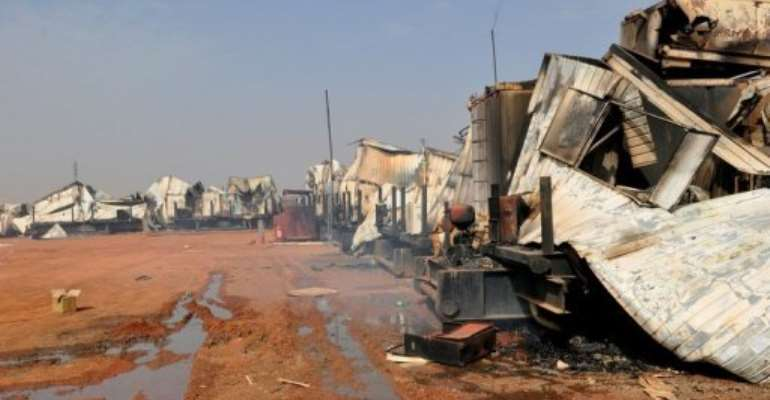 A picture taken on March 28, 2012 shows destruction in Sudan's southern oil centre of Heglig.  By  (AFP/File)