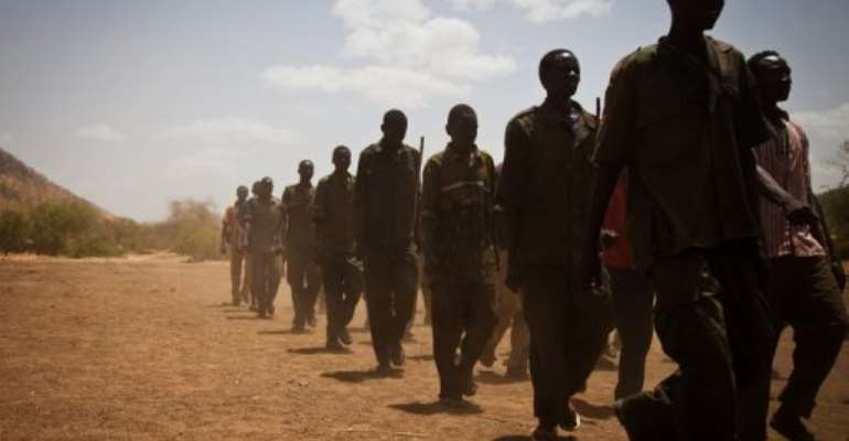 Sudan People's Liberation Movement (SPLA-N) rebel soldiers train in the Nuba Mountains.  By Adriane Ohanesian (AFP/File)