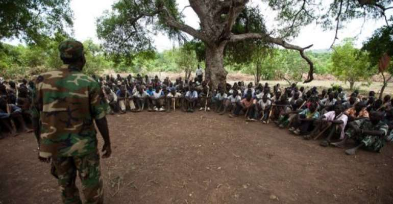 New recruits for the Sudan People's Liberation Army train in the Nuba mountains.  By Trevor Snapp (AFP/File)