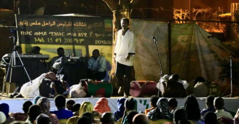 Sudanese actors perform the play 'Boat of Death' at the Ethiopian embassy in the capital Khartoum.  By Ashraf Shazly (AFP)