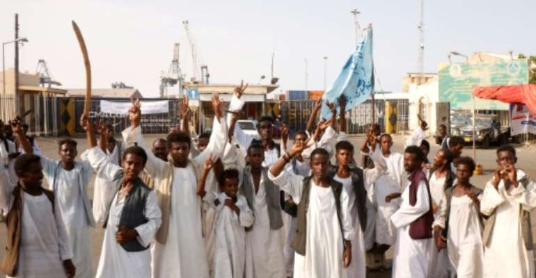 Sudanese protesters have blocked access to the country's main seaport in Port Sudan in protest against a deal between rebel groups and the government they say does not represent them.  By Ibrahim ISHAQ (AFP/File)