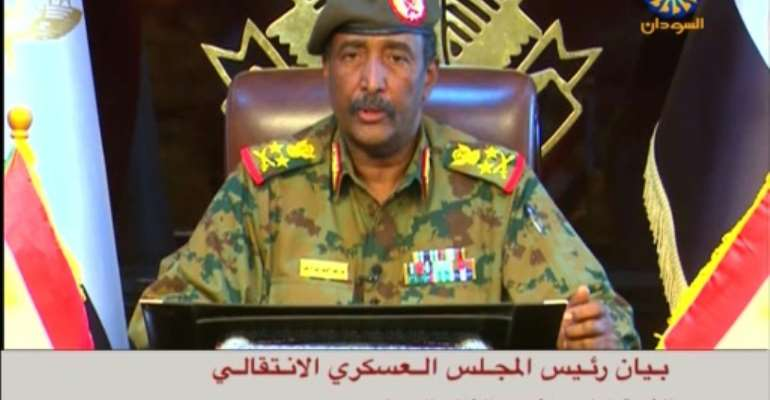 Sudanese state TV shows General Abdel Fattah al-Burhan, the new chief of Sudan's ruling military council, as he addresses the nation.  By - (Sudan TV/AFP)