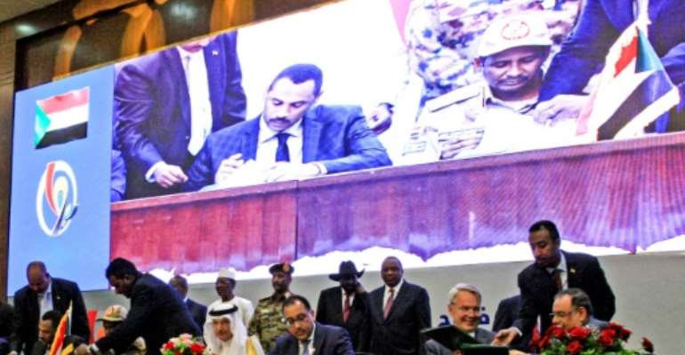 Sudan's powerful generals and key civil society factions signed a power-sharing deal in August 2019.  By Ebrahim HAMID (AFP/File)