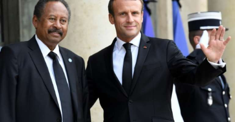 Sudan's Prime Minister Abdalla Hamdok visited French President Emmanuel Macron at the Elysee Palace.  By Bertrand GUAY (AFP)