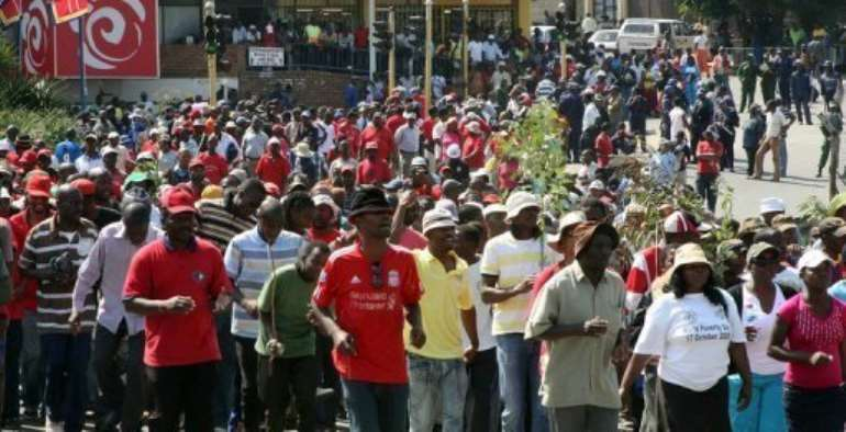 Pro-democracy protesters in Mbabane in 2011.  By Jinty Jackson (AFP/File)