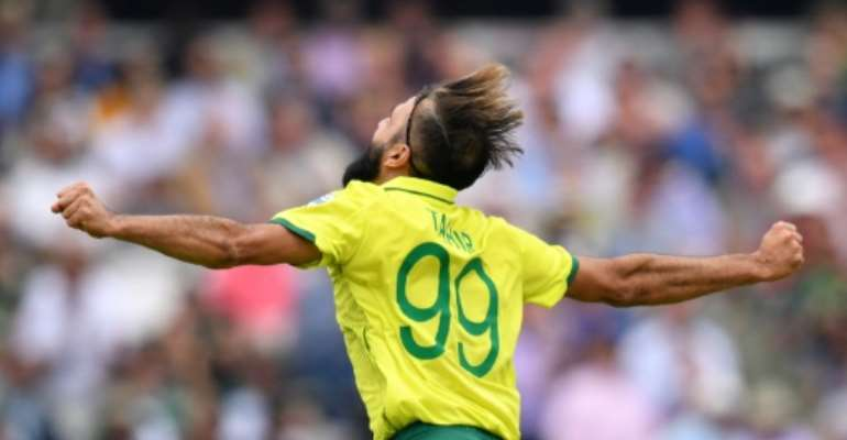 Tahir is well-known for his emotional celebrations.  By SAEED KHAN (AFP/File)