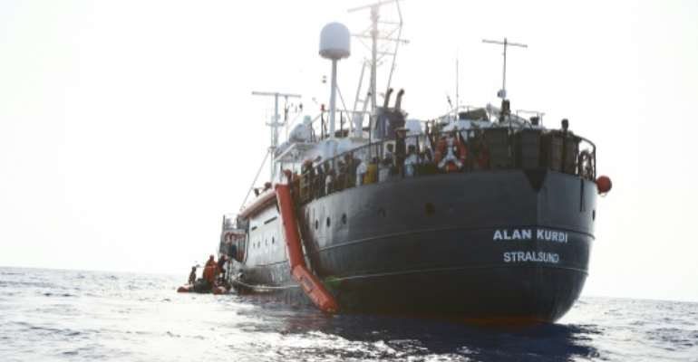 The 44 migrants arrived in Malta after the Alan Kurdi ship handed them over to the Maltese coastguard.  By Fabian Heinz (sea-eye.org/AFP)