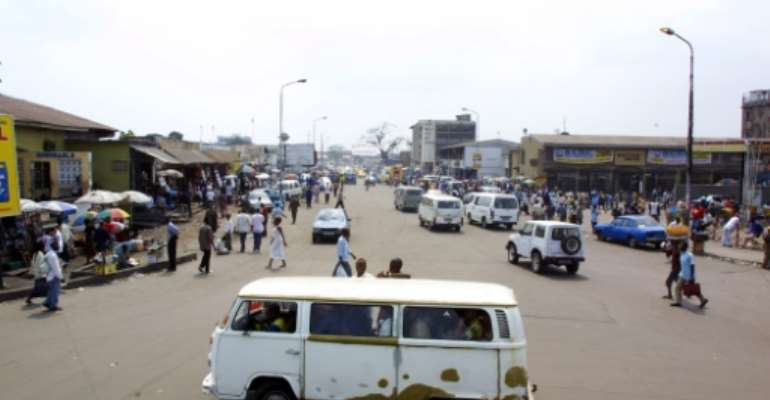 The accident occured on a highway linking the capital Kinshasa (pictured 2004) to the country's sole seaport at Matadi on the Atlantic Ocean.  By DESIREY MINKOH (AFP/File)