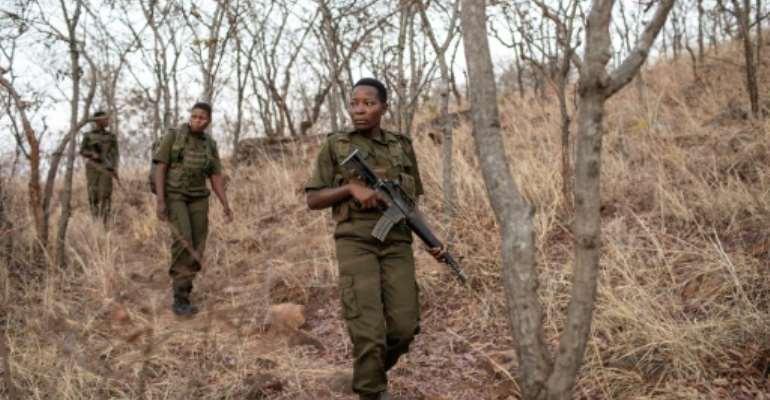 The Akashinga are all-female anti-poaching rangers in northern Zimbabwe.  By GIANLUIGI GUERCIA (AFP)
