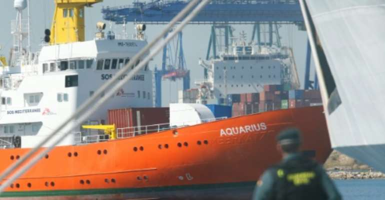 The Aquarius rescue ship enters the port of Valencia on June 17, 2018.  By Pau Barrena (AFP/File)