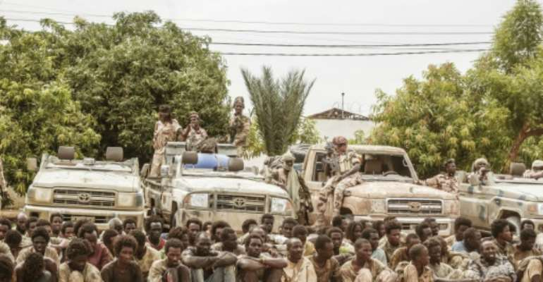 The army presented 156 FACT prisoners as well as several seized vehicles to the press.  By Djimet WICHE (AFP)
