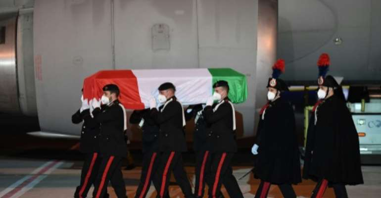 The body of the Italian ambassador killed in the Democratic Republic of Congo has arrived back in Rome.  By Handout (ITALIAN FOREIGN MINISTRY/AFP)