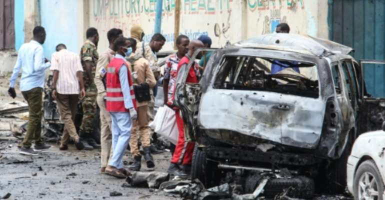 The bombing took place within a kilometre of Villa Somalia, the presidential palace.  By STRINGER (AFP)