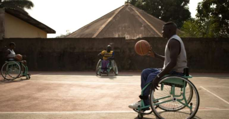 The CAR wheelchair basketball team came in second in an African parasports contest in 2001.  By FLORENT VERGNES (AFP)