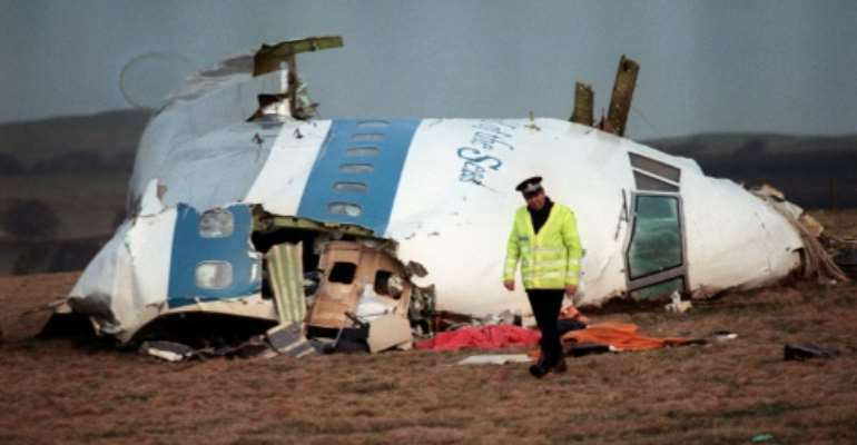 The cockpit of the downed Boeing 747 in 1998, still the worst terrorist attack in Britain.  By ROY LETKEY (AFP)
