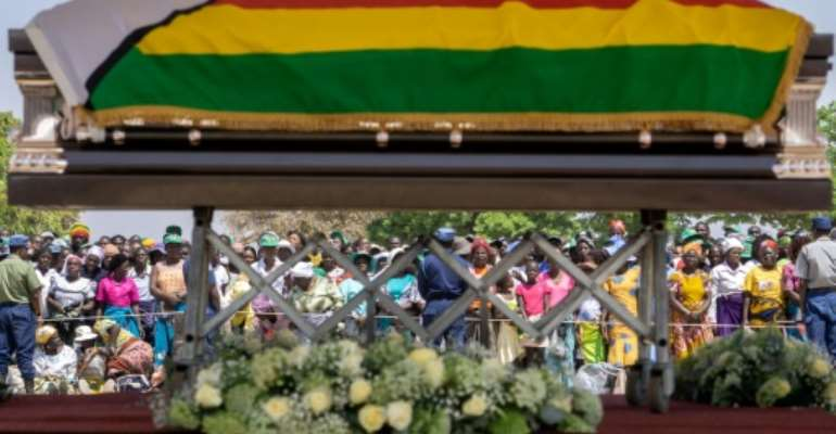 The coffin of late former Zimbabwean president Robert Mugabe is lying in state at Murombedzi Growth Point.  By Zinyange Auntony (AFP)