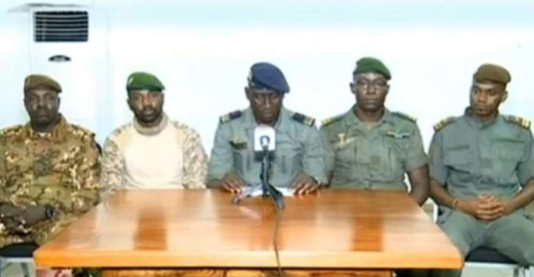 The coup leaders went on Malian television early Wednesday after forcing Keita to resign.  By - (ORTM/AFP)