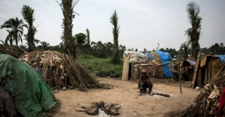 The eastern DRC town of Oicha, where three people were shot by police during a protest.  By JOHN WESSELS (AFP/File)