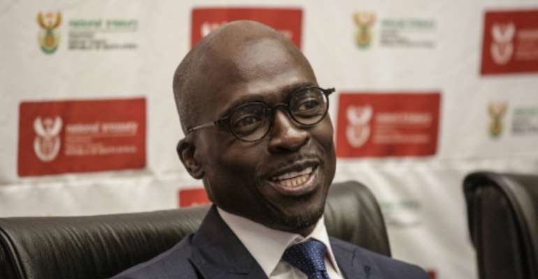 The EFF party alleges that newly appointed South African Finance Minister Malusi Gigaba, seen in April 2017, influenced the awarding of a tender to buy the train locomotives at inflated prices at a time he was the public enterprise minister.  By GIANLUIGI GUERCIA (AFP/File)