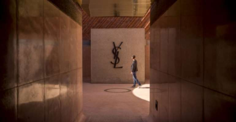 The entrance of the new Yves Saint Laurent museum, set to open in the Moroccan city of Marrakesh..  By FADEL SENNA (AFP)