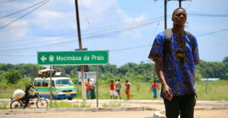 The entrance to Mocimboa da Praia, a northern Mozambique town that has been occupied by Islamist militants.  By ADRIEN BARBIER (AFP/File)