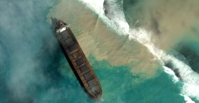 The environment ministry announced this week that oil had begun seeping from the hull.  By Handout (Satellite image ©2020 Maxar Technologies/AFP)