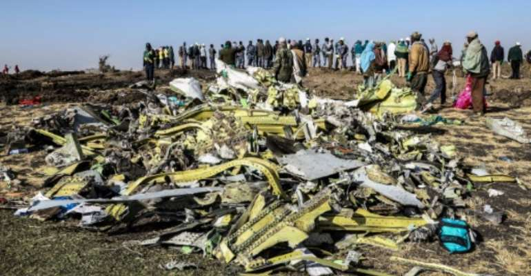 The Ethiopia Airlines jet nose-dived into a field outside Addis Ababa, killing all 157 people onboard.  By Michael TEWELDE (AFP)