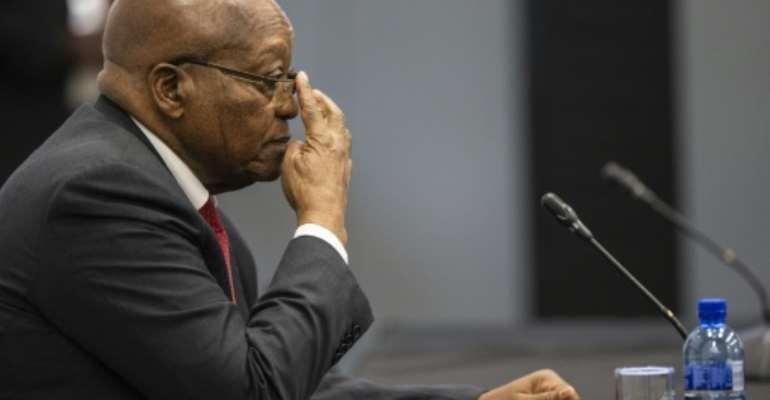 The former president is accused of fostering a culture of corruption.  By WIKUS DE WET (POOL/AFP)