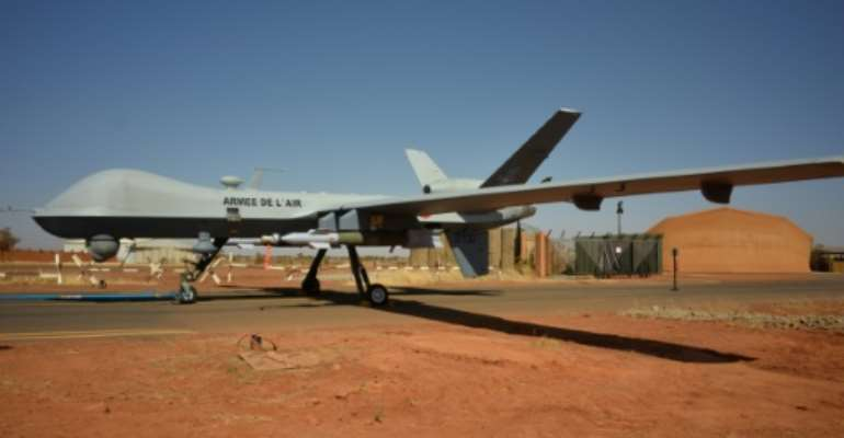 The French army has deployed three armed Reaper drones at an air base in Niamey, Niger.  By Daphné BENOIT (AFP)