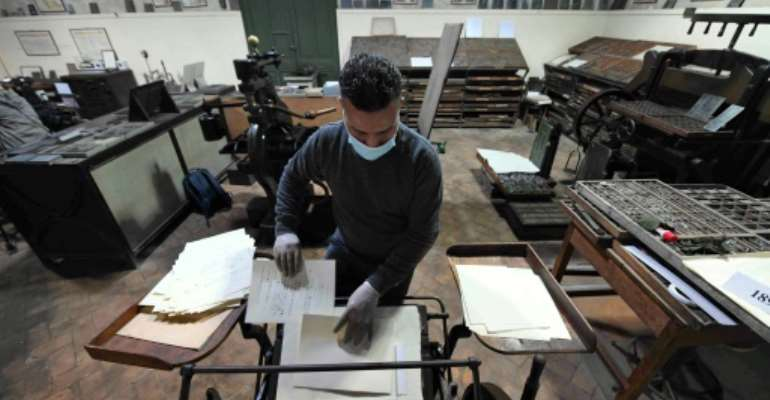 The French Institute of Oriental Archaeology in Cairo, or IFAO, recently showed off the machine which allows the printing of Egyptian hieroglyphs.  By Ahmad HASSAN (AFP)