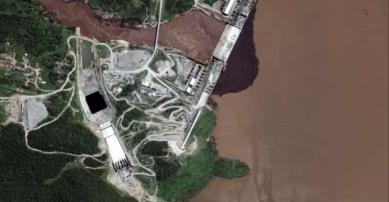 The Grand Ethiopian Renaissance Dam, pictured in a satellite image last July by Maxar Technologies.  By Handout (Satellite image ©2020 Maxar Technologies/AFP/File)