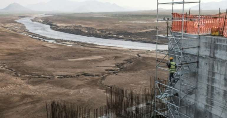 The Grand Ethiopian Renaissance Dam, pictured under construction in December 2019, will be Africa's largest hydropower plant.  By EDUARDO SOTERAS (AFP/File)