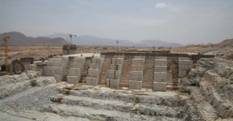 The Grand Renaissance Dam under construction near the Sudanese-Ethiopian border in March 2015.  By ZACHARIAS ABUBEKER (AFP/File)