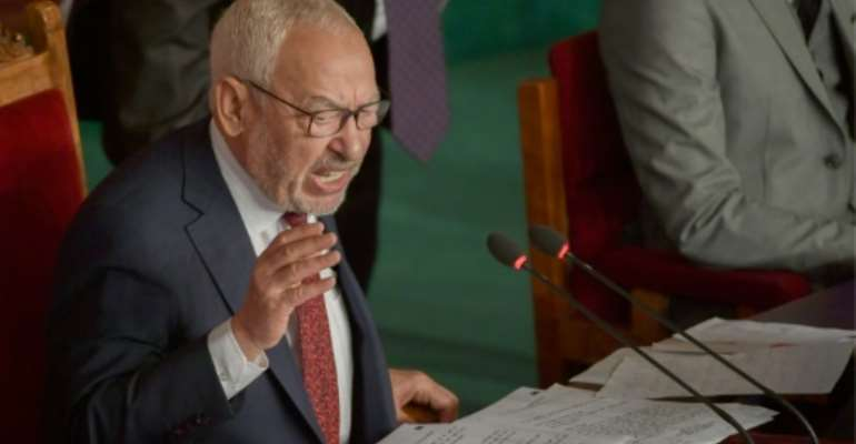 The leader of Tunisian Islamist-inspired Ennahda party, Rached Ghannouchi, has been elected speaker of parliament.  By FETHI BELAID (AFP)