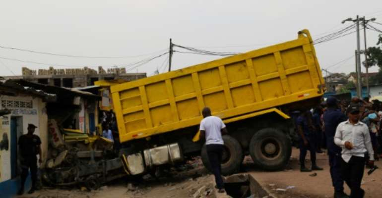 The lorry careered into several other vehicles and also hit several pedestrians.  By Junior KANNAH (AFP)