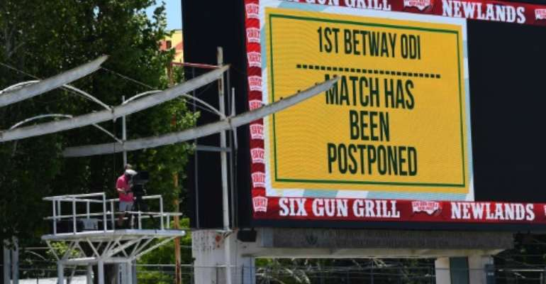 The match at Newlands was postponed just an hour before it was due to start.  By Rodger BOSCH (AFP)