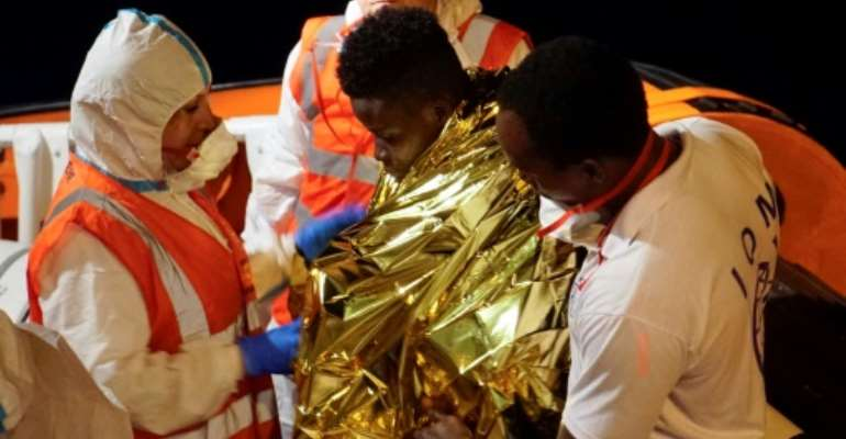 The migrants were allowed to disembark and taken to Lampedusa's reception centre.  By Handout (Sea Watch/AFP/File)