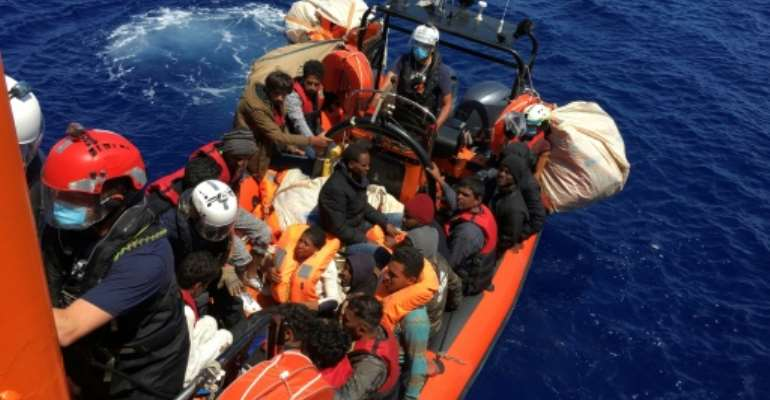 The migrants were rescued by the Ocean Viking near the Italian island of Lampedusa.  By Shahzad ABDUL (AFP)