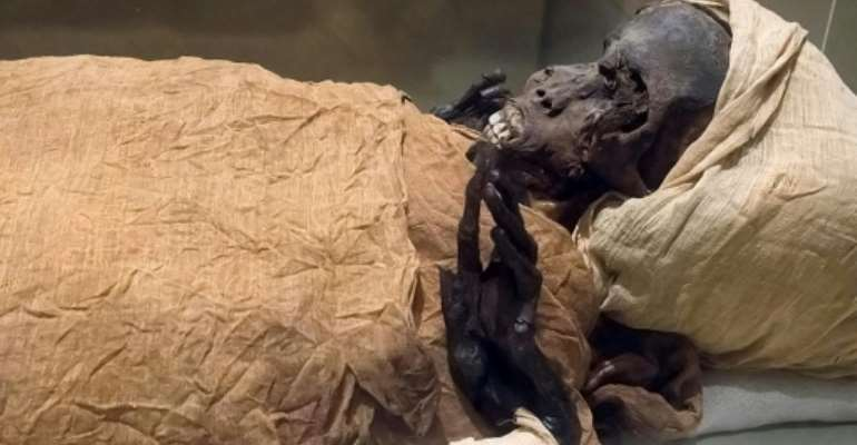 The mummified remains of Pharaoh Seqenenre Taa II,