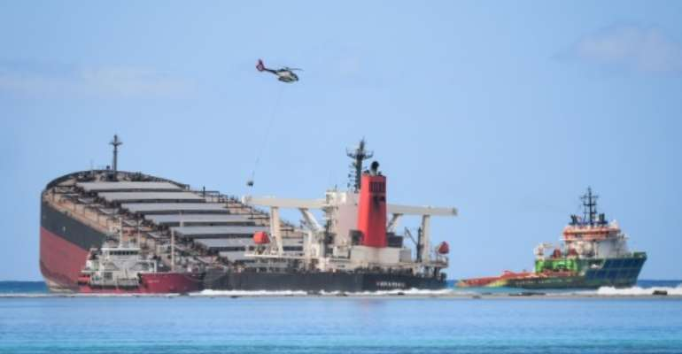 The MV Wakashio ran aground off Mauritius in July and is leaking fuel into the island's pristine coral-filled waters.  By Sumeet Mudhoo (L'Express Maurice/AFP/File)