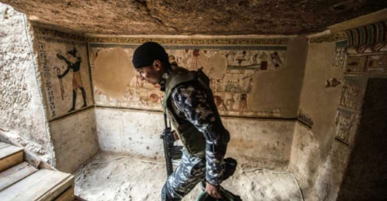 The newly-discovered tomb in the Egyptian city of Akhmim is more than 2,000 years old.  By Khaled DESOUKI (AFP)