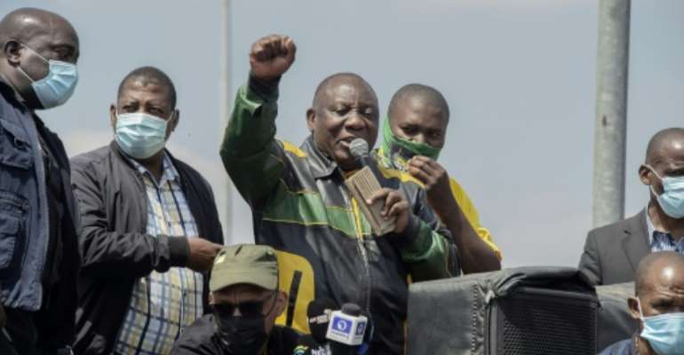 The November lcoal elections are expected to provide a real test President Ramaphosa's African National Congress.  By LUCA SOLA (AFP)
