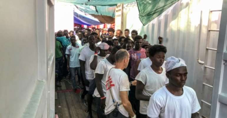 The Ocean Viking had been seeking a port after rescuing four boats of migrants off the Libyan coast between August 9 and 12.  By Anne CHAON (AFP)