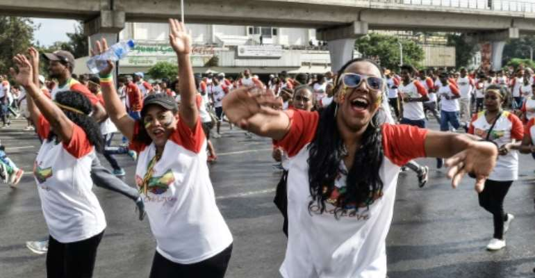The peace and reconciliation run through Addis Abeba caught a new positive mood after years of 'cold war' between Ethiopia and Eritrea.  By Michael TEWELDE (AFP)