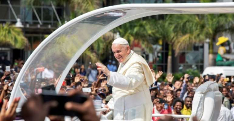 The pope is in Mozambique as the start of a three-nation African tour.  By GIANLUIGI GUERCIA (AFP)