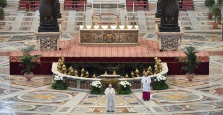 The pope's Easter Sunday message was peppered with prayers for the ill and urged European solidarity to fight the pandemic.  By Handout (VATICAN MEDIA/AFP)