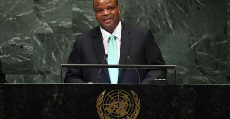The protesters accuse King Mswati III, seen here at the UN General Assembly in 2018, of failing to provide sufficient wages.  By Angela Weiss (AFP)