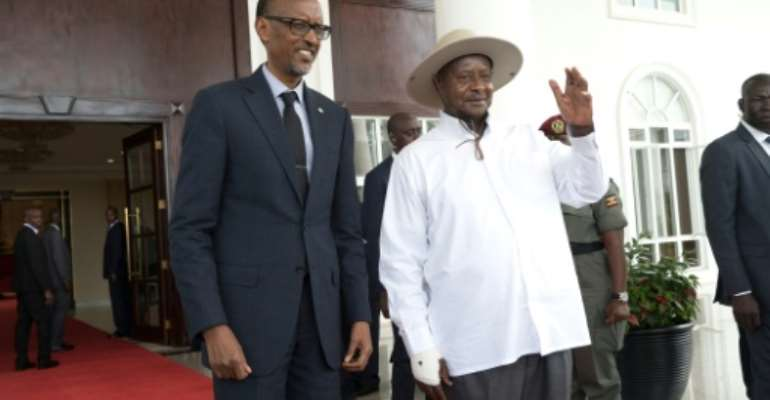 The relationship of Rwanda's Paul Kagame,left, and Uganda's Yoweri Museveni, once close allies who backed each other into power, has turned deeply hostile.  By Michele Sibiloni (AFP/File)