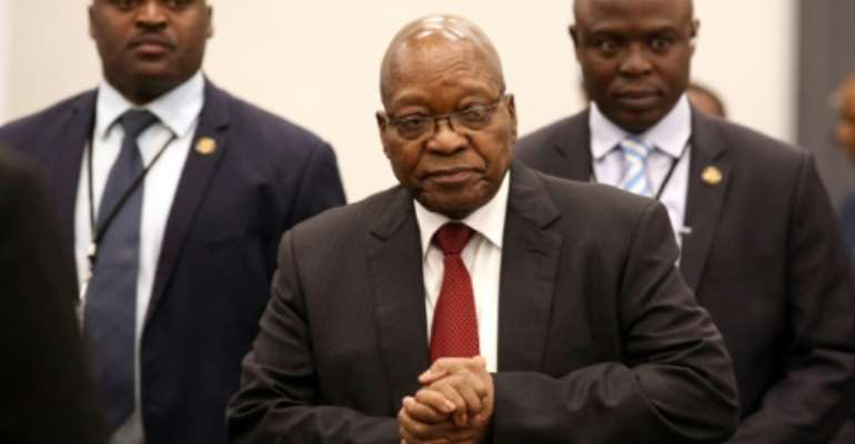 The ruling African National Congress (ANC) party forced Zuma to resign as president last year.  By MIKE HUTCHINGS (POOL/AFP)